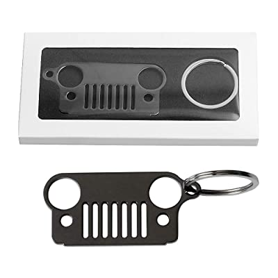 Early Bus Jeep Grille Keychain,Stainless Steel Car Keyring (Never Rust or Break) for Jeep Wrangler Grand Cherokee Compass Renagade Patriot CJ, JK, JKU, TJ, YJ, XJ (Black 1): Automotive