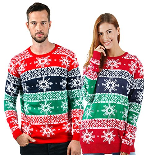 uideazone Women Men Ugly Christmas Sweater Snowflakes Print Long Sleeve Round Neck Sweater, Red 7, X-Large]()