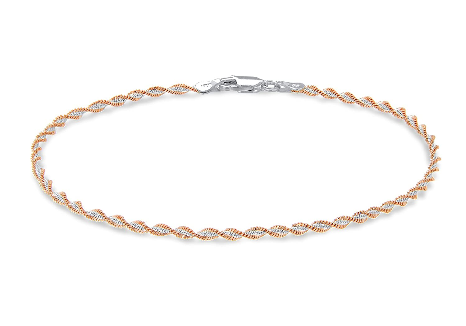 Tuscany Silver Sterling Silver 2 Tone Twist Detail Bracelet of 19cm/7.5