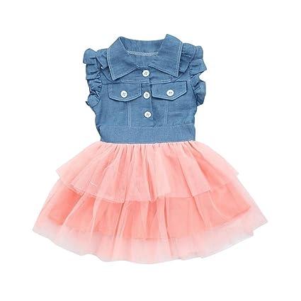 Niñas Princesa Vestido, Sonnena ❤ ❤ ❤ Niñas Mezclilla Blusas sin Manga