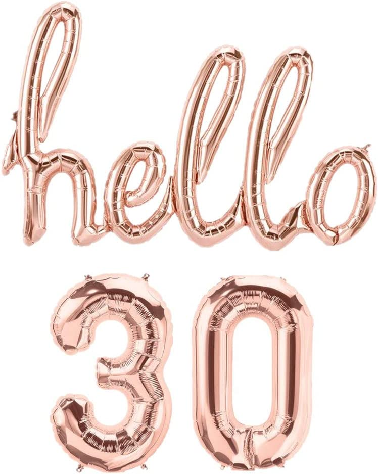Amazon.com: Mapple Balloon Hello 30th Rose Gold Birthday Pack 30 ...