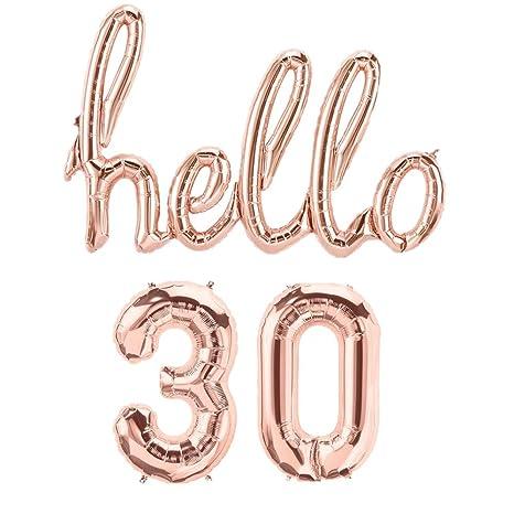 Amazon.com: Mapple Globo Hello 30th oro rosa cumpleaños Pack ...