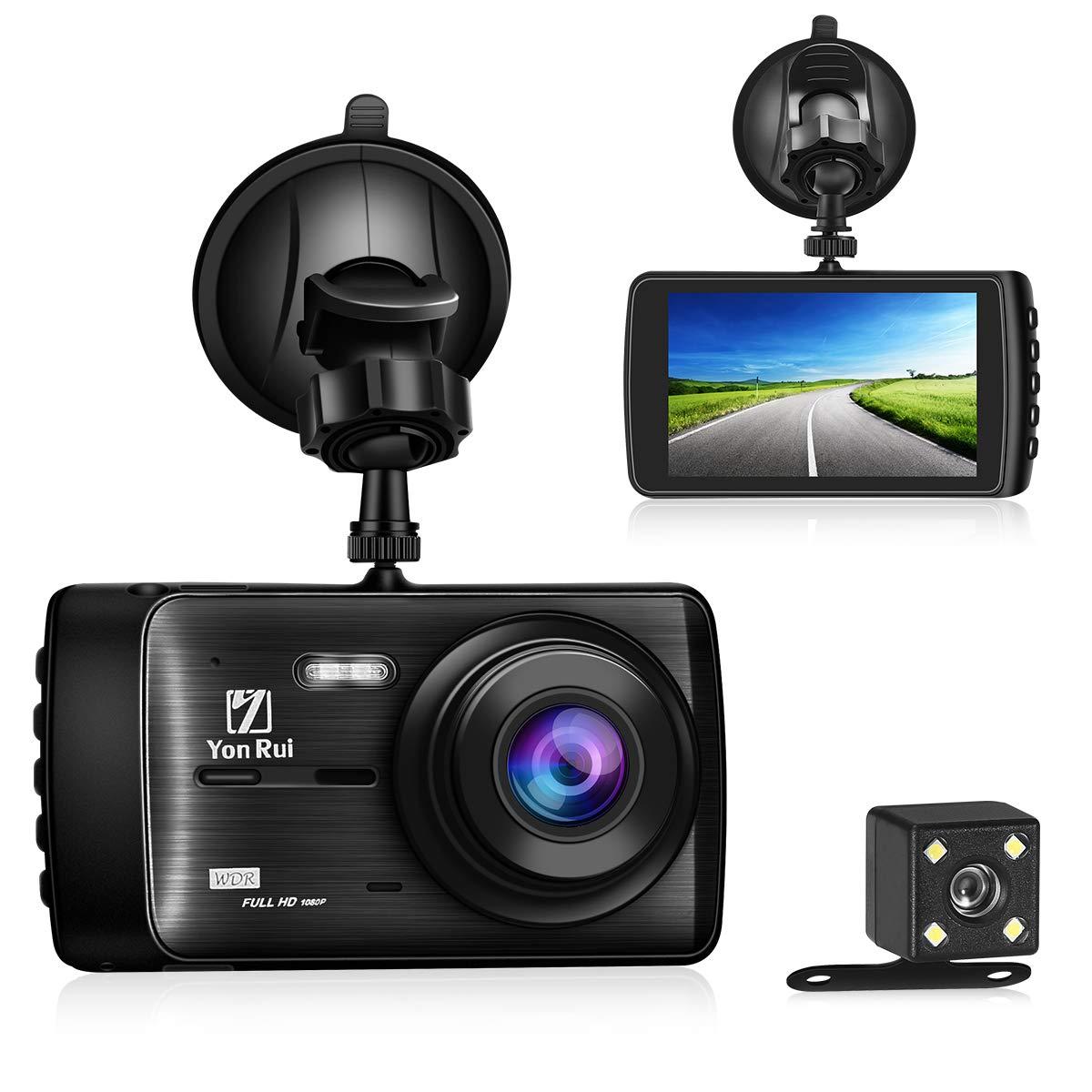 Dash Cam YonRui 1080P Full HD 4.0'' Car Dashboard Camera Recorder Car DVR 1080P HD Night Vision Wide-Angle Car Video Recorder with G-Sensor Loop Recording YonRui Dash Cam