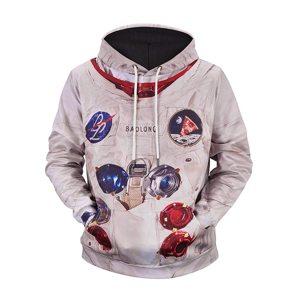 a709863ccb UGGKA US Men's 3D Print Space Suit Hooded Astronaut Sweatshirt Hoodies with  Big Pockets