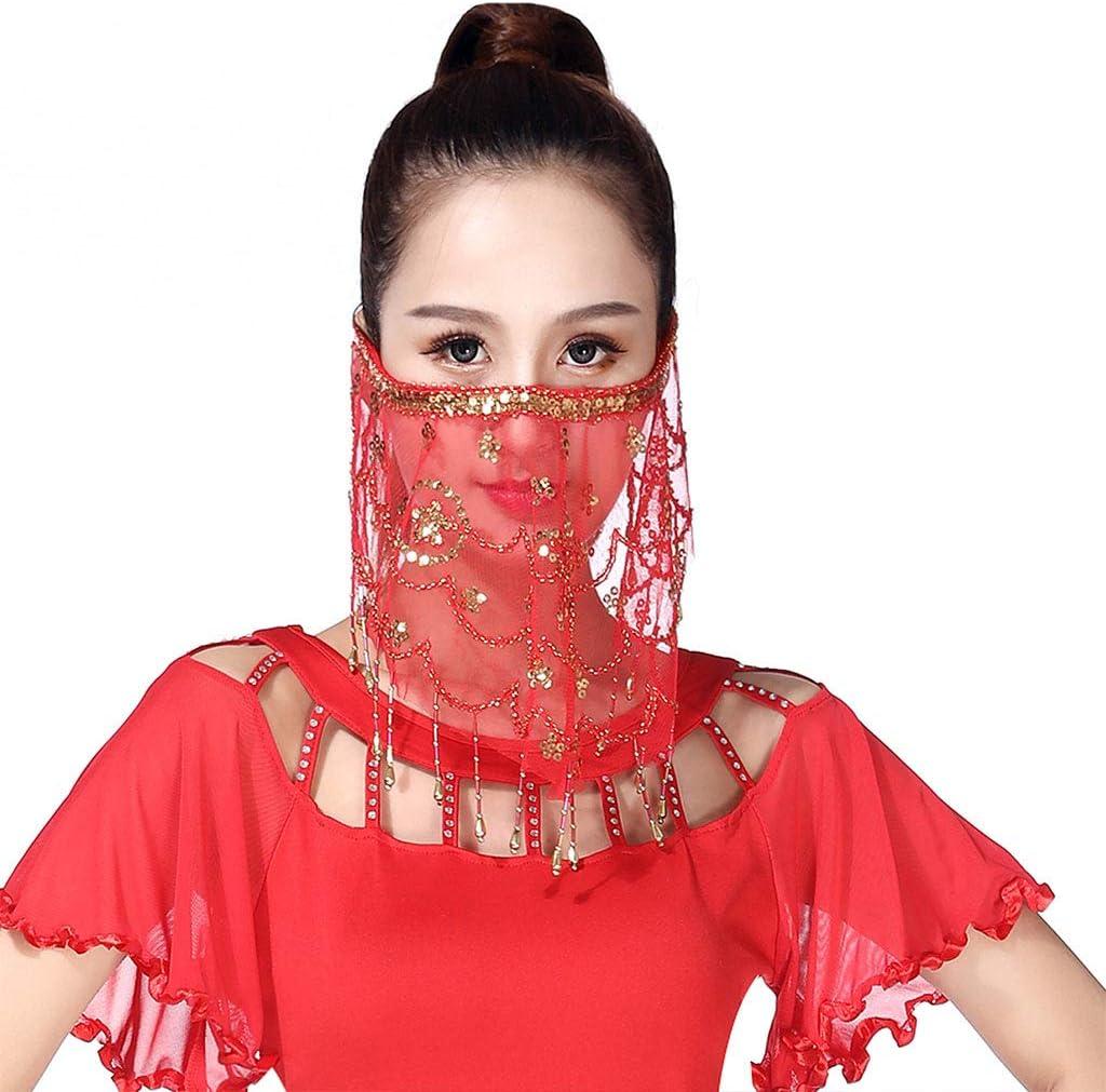follwer0 Sciarpa da donna indiana per la danza del ventre velo con paillettes