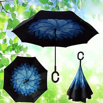 Paraguas Innovado Paraguas en Forma de C mango de Las Plegable de Doble Capa Parasol Plegable
