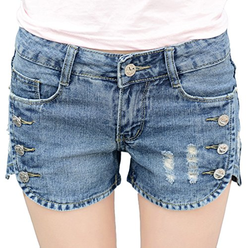 Basic 5 Pocket Denim Short (Chouyatou Women's Basic 5-Pockets Perfect Fit Ripped Jeans Shorts Button-Split (Medium,)