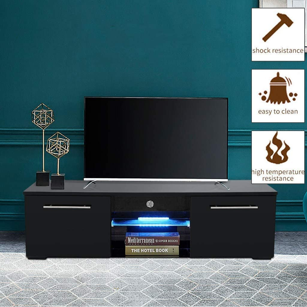 Amazon Com 47 Black Tv Stand With Storage Cabinets High Gloss Tv Cabinet Media Storage Console Cabinet Entertainment Center For Living Room Bedroom Tv Stand With Drawers 47 2 15 7 13 4 Inch Black Home Audio