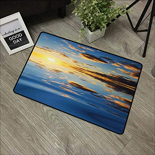(Moses Whitehead Entry Way Outdoor Door Mat Mystic,Last Sunlights of The Day Vibrant Scenery Romantic Dreamy Tropical Vacation Image,Yellow Blue,with Non Slip Backing,24