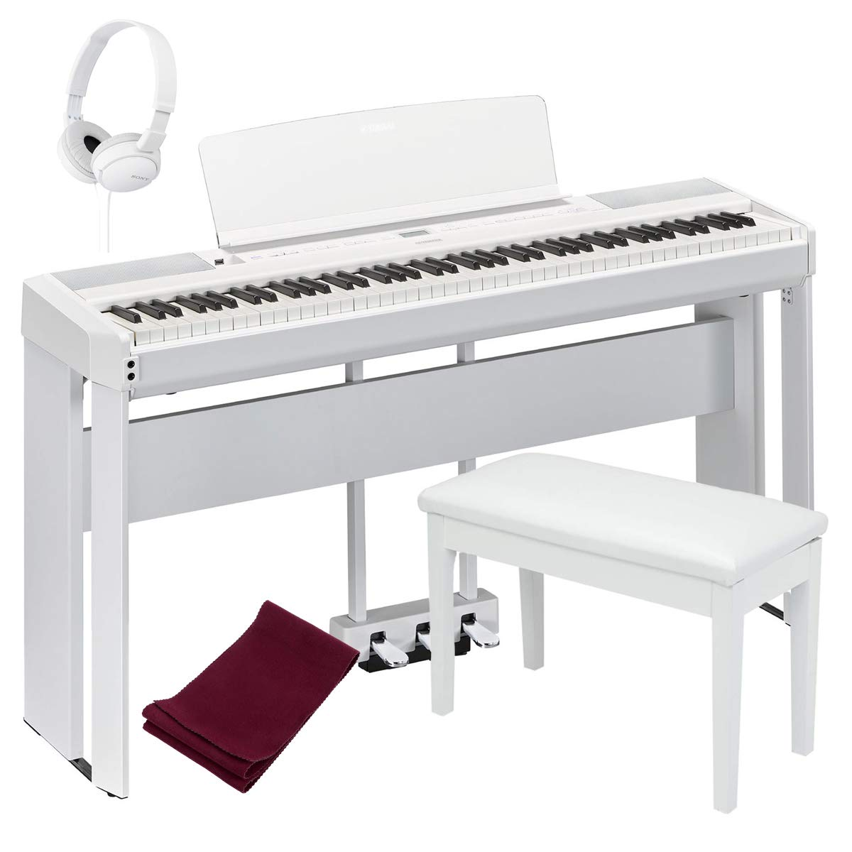 Yamaha P515WH 88-Key Digital Piano White bundled with the Yamaha L515WH Piano Stand, the Yamaha LP1WH 3-Pedal Unit, Padded Piano Bench, Dust Cover and Stereo Headphones by Yamaha Keyboards