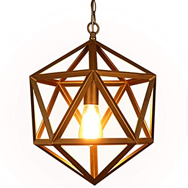 Lampundit Industrial Metal Pendant Light, Black Polyhedron Wrought Geometric Pendant Lighting, Vintage Cage Hanging Light Fixture for Kitchen Island Dining Room Loft Bar Restaurant