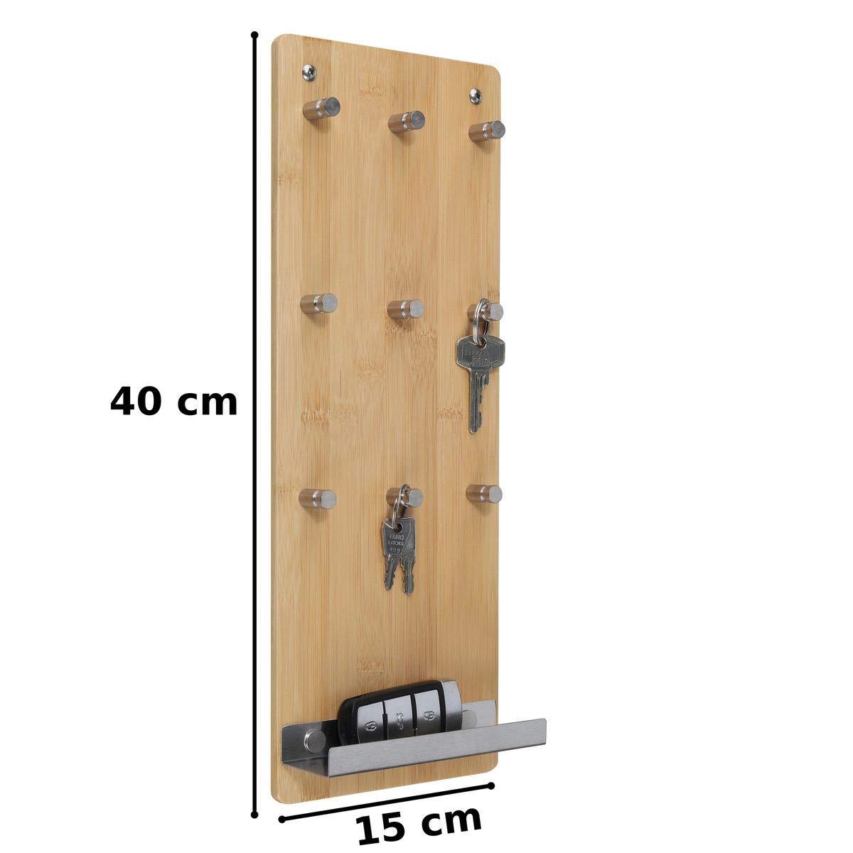 bonsport Schl/üsselbrett mit Ablage Schl/üsselleiste mit 9 Haken aus Bambus Holz und Edelstahl