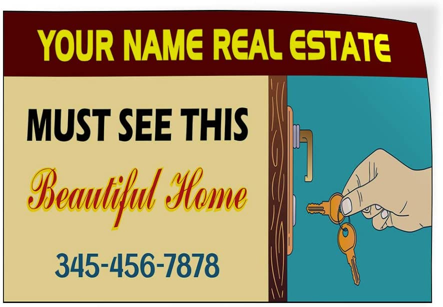 Custom Door Decals Vinyl Stickers Multiple Sizes Real Estate Must See This Beautiful Home Business Real Estate Outdoor Luggage /& Bumper Stickers for Cars Brown 58X38Inches 1 Sticker