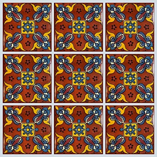 9 Pieces -EX420 High Temperature Tile Good for Wet Areas Pools Fountains Showers Also for high and Low temperatures Garanteed Ceramic Talavera Mexican Tile 4x4 A1 Export Quality NOT Stickers