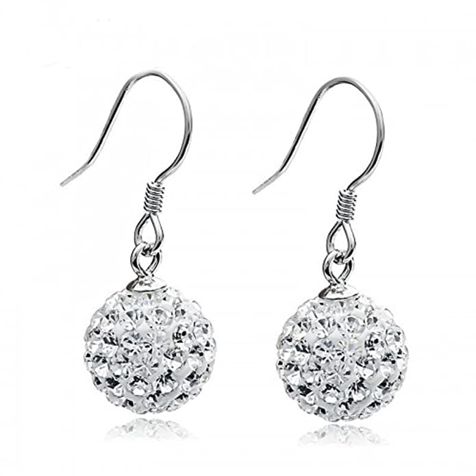 Vintage Style Jewelry, Retro Jewelry Solid Silver S925 Disco Ball White Crystals from Swarovski Dangle Hook Earrings for Women and Girls $16.50 AT vintagedancer.com