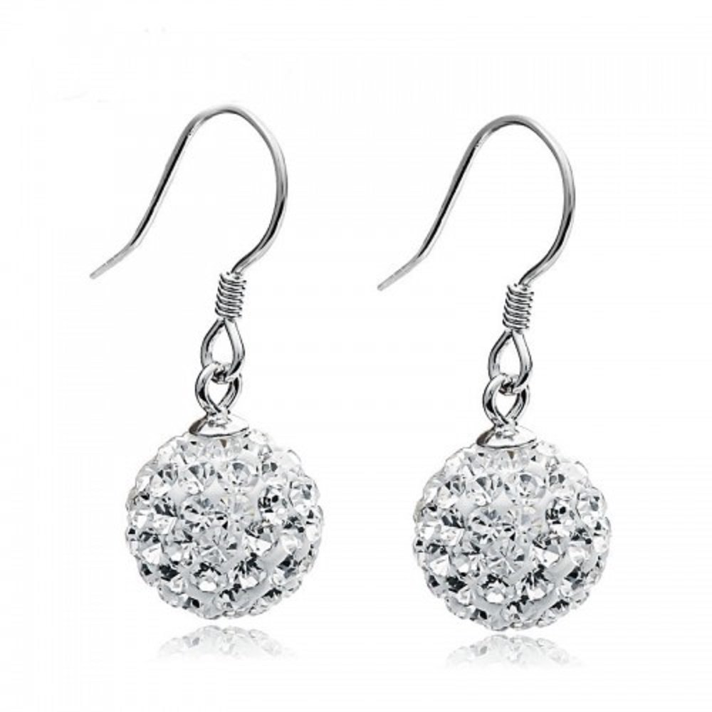 Solid Silver S925 Disco Ball White Crystals from Swarovski Dangle Hook Earrings for Women and Girls