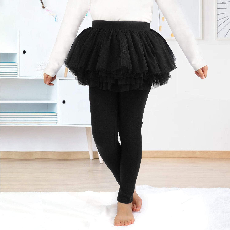 Face Dream Little Girls Footless Leggings with Mini Ruffle Skirt Stretchy Cotton Pantskirt
