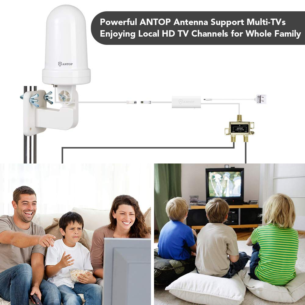 Outdoor Antenna for Multiple TVs, ANTOP Digital TV Antenna Amplified Omni-Directional 360° Reception Rooftop/Attic/RV Antenna with Signal Splitter for 2 TVs,16ft Coaxial Cable and UL Certificate by ANTOP (Image #5)