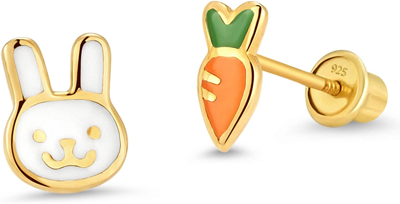 14k Gold Plated Enamel Rabit Carrot Baby Girls Earrings with Sterling Silver Post 61CQAlewsdL