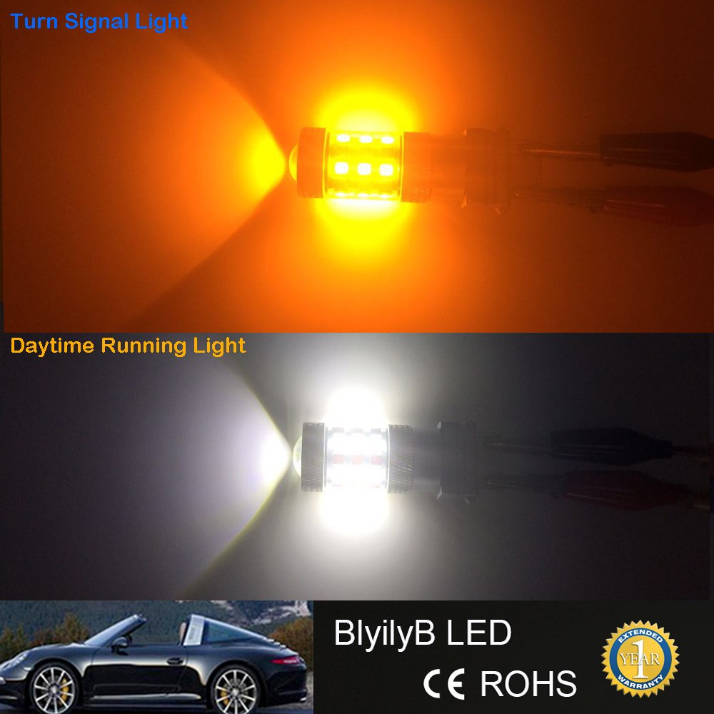 BlyilyB Extremely Bright 1157 2057 2357 7528 BAY15D Switchback LED Bulbs  with Projector Replacement for Daytime