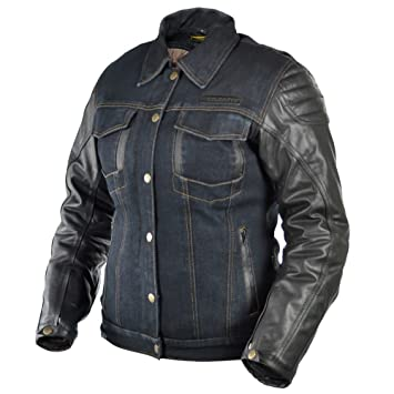 Veste en jeans avec manche cuir
