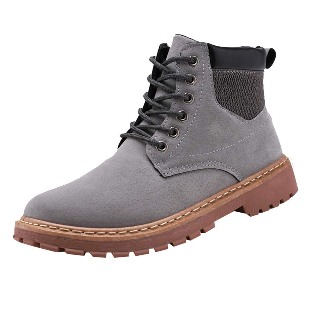 【MOHOLL】 Men's Leather Insulated Work Boots Construction Rubber Sole England Style Suede High-Slip Skid Boots Gray by ✪ MOHOLL Shoes ➤Clearance Sales