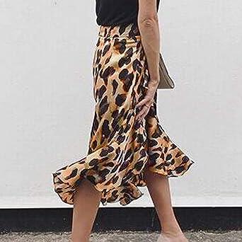❤ Falda Leopardo Mujer, Moda Mujer Leopardo Estampado Volantes Corto Imperio Cintura hasta la Rodilla Falda Absolute: Amazon.es: Ropa y accesorios