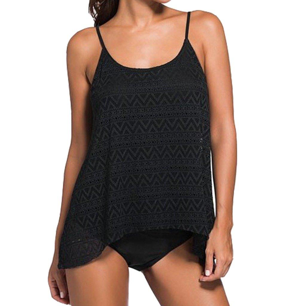 Dreamsoar WomensStripes Cover-Ups Tankini Top Sling Two-Piece Swimwear XL