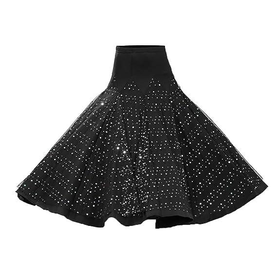 MagiDeal Costume De Danse Salon De Flamenco Robe Jupe Longue Paillette  Valse - Noir b226b0d8b72