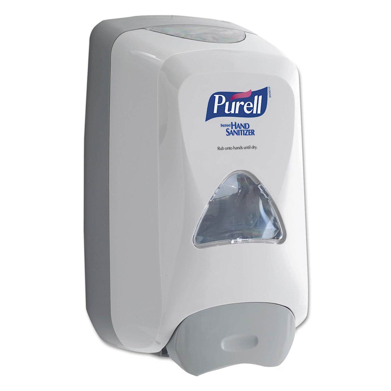 PURELL FMX-12 Push-Style Hand Sanitizer Foam Dispenser, Dove Grey, Dispenser for 1200 mL PURELL FMX-12 Sanitizer Foam Refill - 5120-06