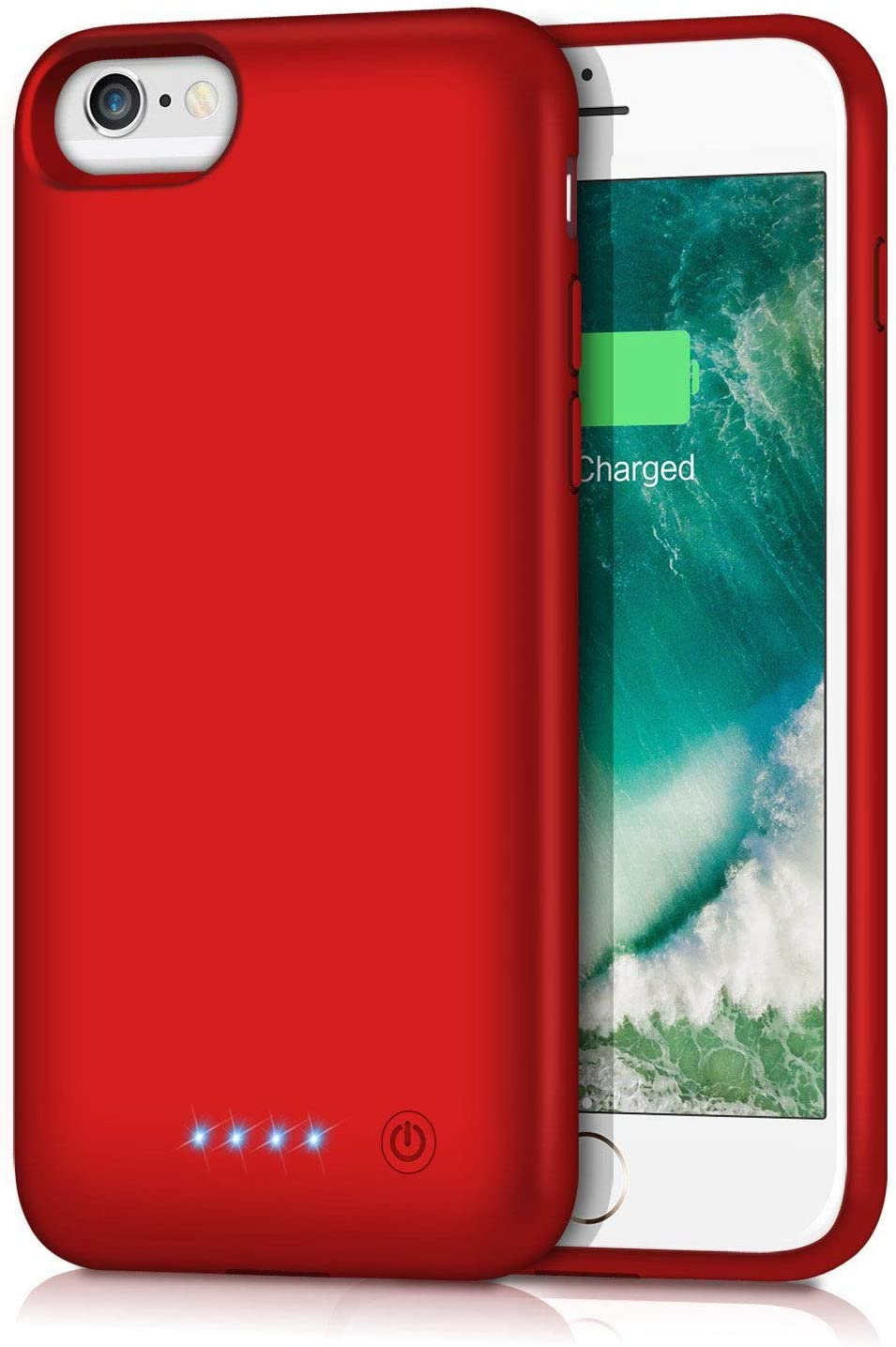 Gixvdcu Battery Case for iPhone 6/7/8/6S 6000mAh,Portable Charger Case Protective Battery Pack Charging Cover Case for iPhone 6/6s/7/8- Red (4.7inch)