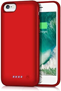 Battery Case for iPhone 6/7/8/6S,6000mAh Portable Charger Case Protective Battery Pack Charging Cover Case for iPhone 6/6s/7/8- Red (4.7inch)
