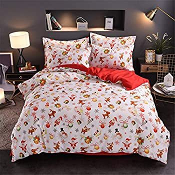 A Nice Night Christmas Deer Santa Claus Gifts Small Bells Printed Bedding Sets Quilt Cover Set No Comforter (Christmas-Style 08, Queen(Cover))