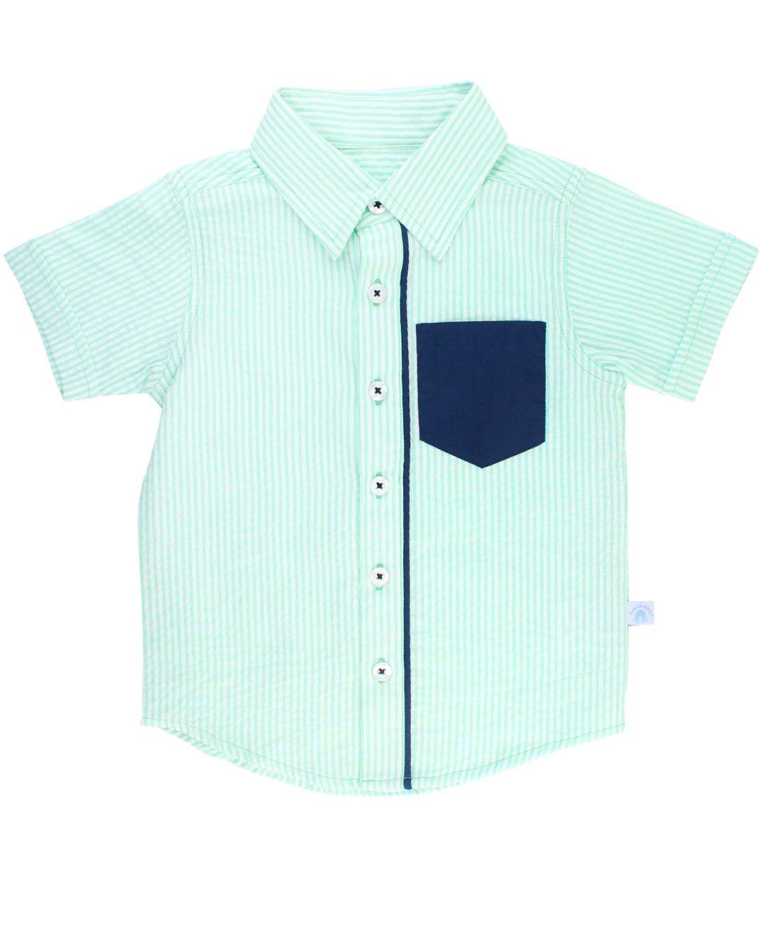 RuggedButts Baby/Toddler Boys Mint Seersucker Short Sleeve Button Down - 18-24m by RuggedButts