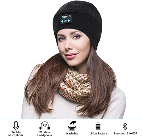 Bluetooth Beanie Hat,SKYEOL Wireless 5.0 Hands-Free Music Cap with HD Stereo Speaker Headphone Headset for Winter Fitness Outdoor Sports Christmas Birthday Thanksgiving Gifts