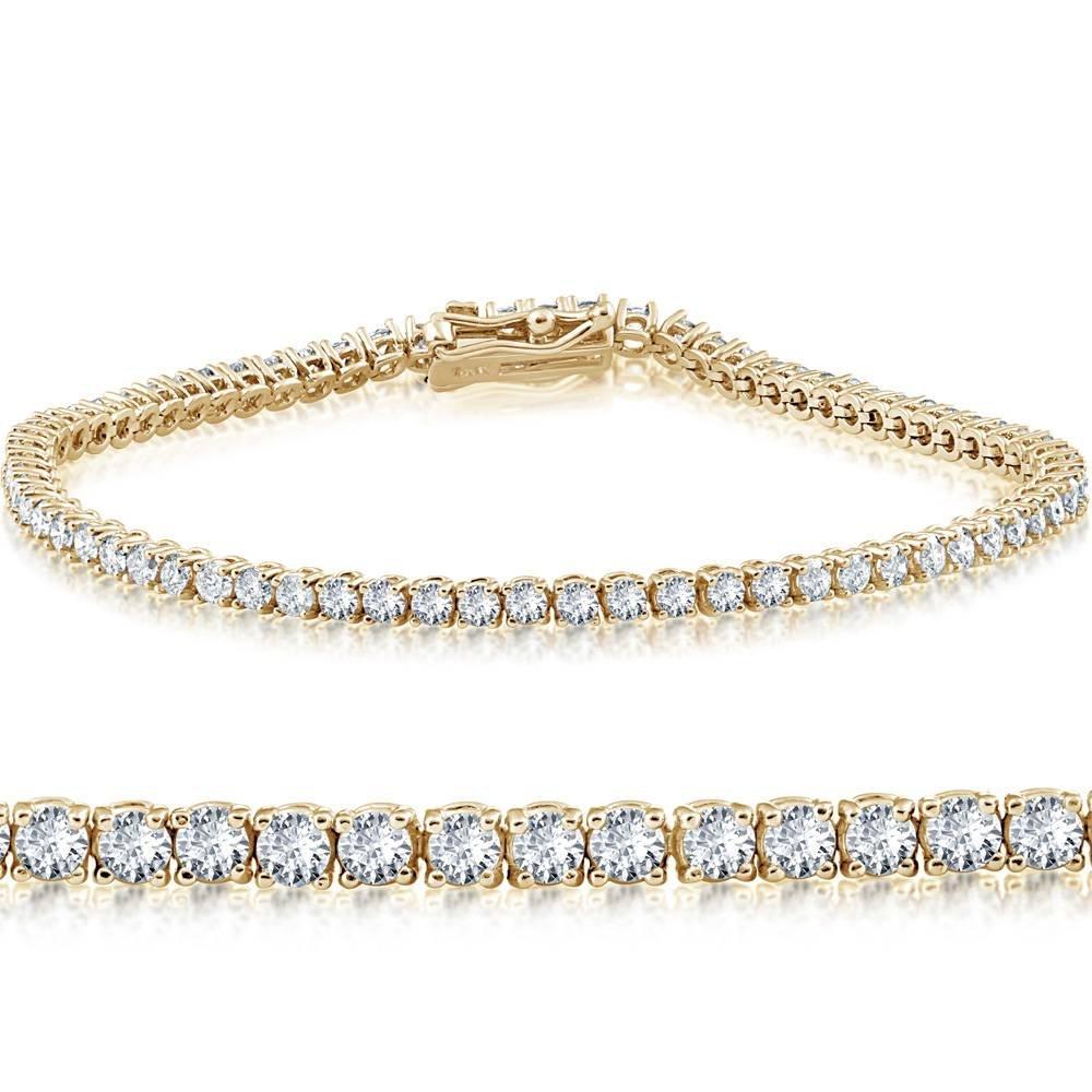 4ct Diamond Tennis Bracelet 14K Yellow Gold 7''