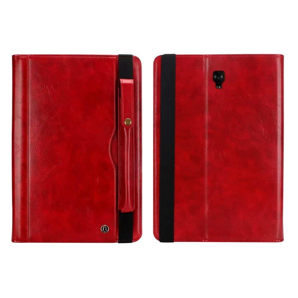Samsung Galaxy Tab A 10.5インチT590ケース プレミアムレザーフォリオウォレットストラップスタンドカバー ペンシルホルダーポケット付き Galaxy Tab A 10.5インチ2018 SM-T590/T595  レッド B07LDDTN7P