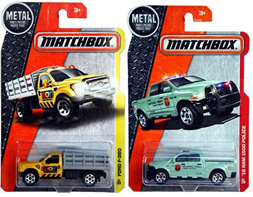 Matchbox Ford F3-50 + '15 Ram 1500 Police Pickup New Model MBX Stake Truck Construction Contractors truck set Matchbox & Rescue road vehicles