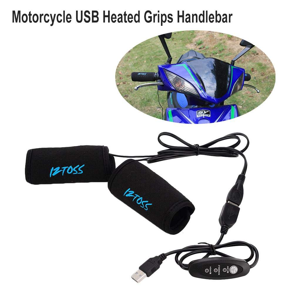 Motorcycle ATV Scooter USB Heated Grips Handlebar with Temperature Control Switches, Universal Motorbike Hot Grip Warmer Handlebar blue--net