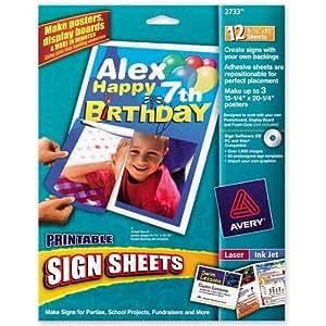 amazon com avery printable sign sheets 12 sheets per pack 2733