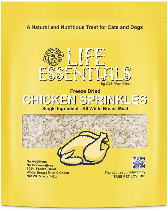 Life Essentials by Cat-Man-Doo All Natural Freeze Dried Chicken Sprinkles for Dogs & Cats - No Fillers, Preservatives, or Additives -- No Grain Tasty Treat --Made in USA (5 Oz Bag)
