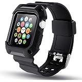 N.ORANIE コンパチブル Apple Watch スポーツバンド 42mm アップルウォッチ ベルト シリコン 交換ベルト Apple ウォッチ ケース 一体式 運動型 耐衝撃 防汗 傷防止 iWatch Series 1/2に対応 (42mm,ブラック)