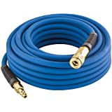"Estwing E1450PVCR 1/4"" x 50' PVC / Rubber Hybrid Air Hose with Fittings Lightweight Kink-Resistant Compressed Air Hose with S"