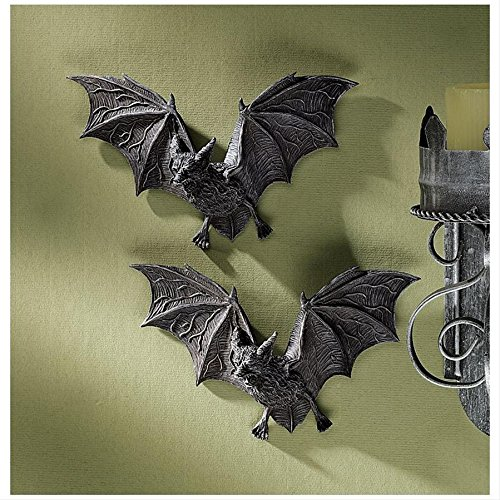 Design Toscano Vampire Bat - The Vampire Bats of Castle Barbarosa Wall Sculptures - Set of 2 - Bat Figure - Halloween Bats