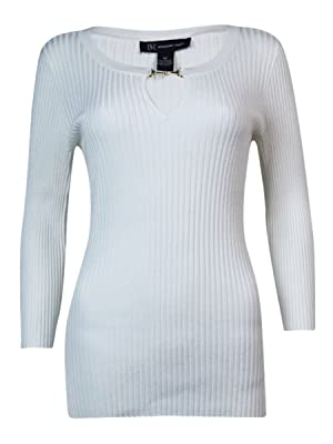 INC International Concepts Women's Ribbed Knit Sweater (M, Washed White)