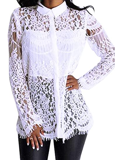 Ouliu Womens Long Sleeve Lace Stitch Embroidery Shirt Top Blouse At