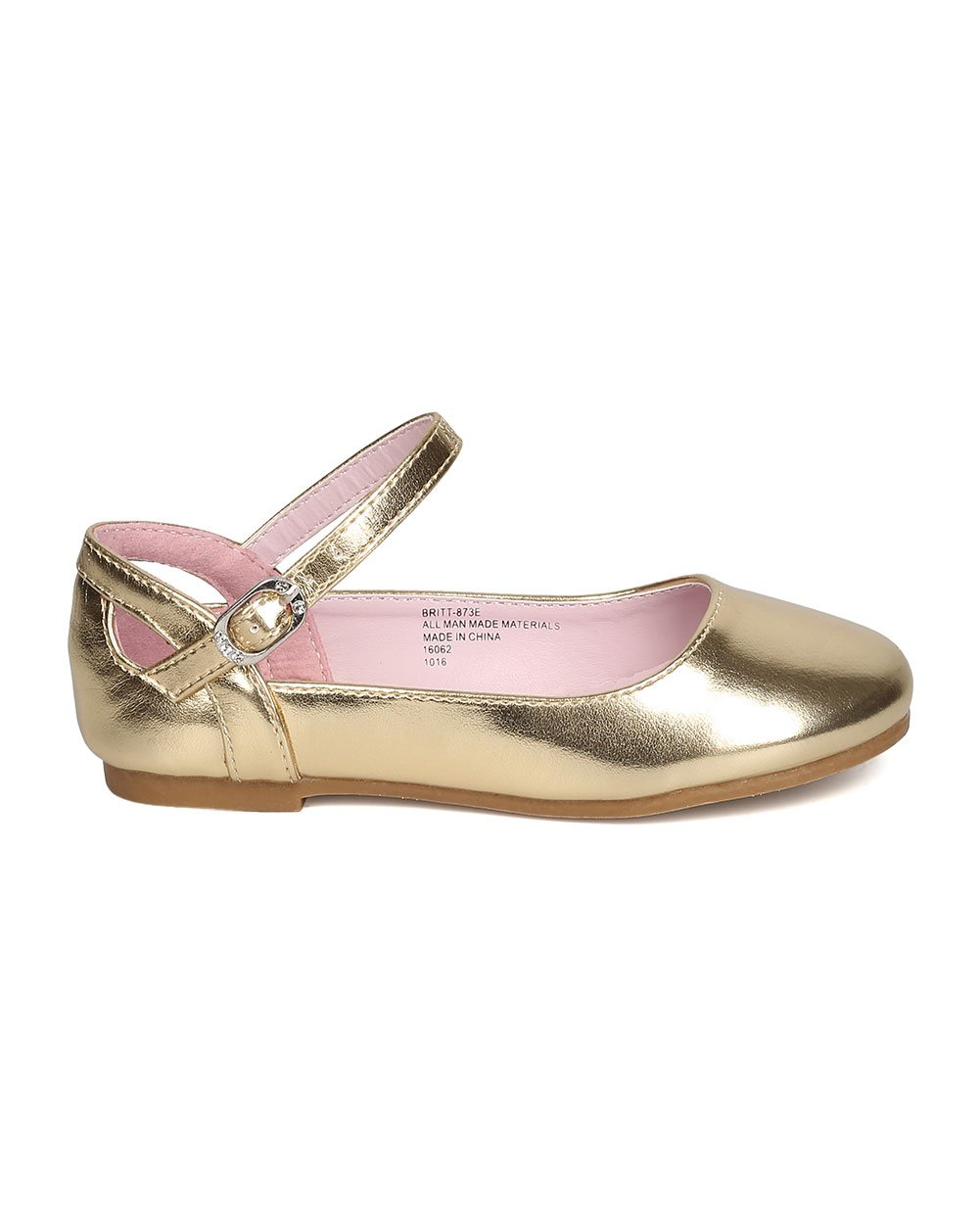 Girls Metallic Leatherette Ankle Strap Cut Out Ballet Flat GB36 - Gold (Size: Toddler 8) by Little Angel (Image #2)