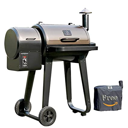 ZGRILLS Wood Pellet Grill Smoker Outdoor BBQ Grills Smoker Patio Cover,450  Square Inches,