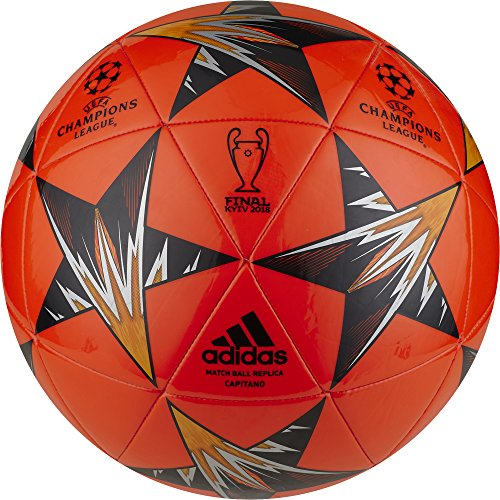 adidas Champions League Finale Kiev Capitano Soccer Ball, Bright Red/Blue, Size 4