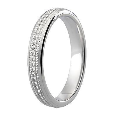 Platinum - Anillos de Boda exquisito diamante corte 3 mm banda ...